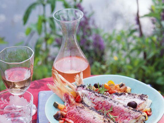 Rotbarben mit Olivenpaste