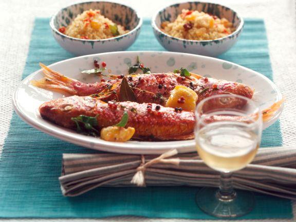 Rotbarben mit Rosinen-Couscous