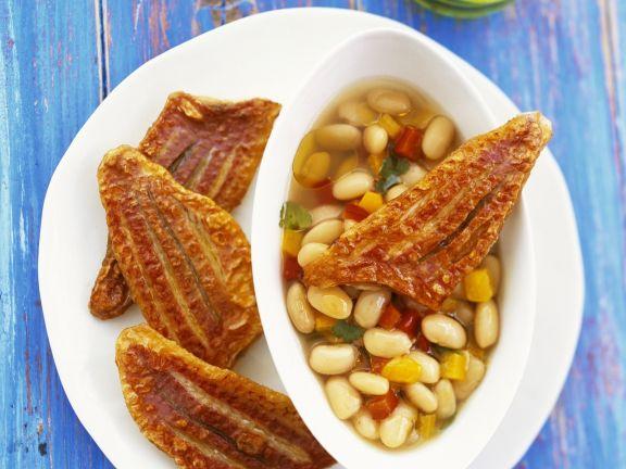 Rotbarbenfilet mit Bohnensalat