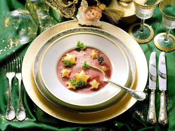 Rote-Bete-Ingwer-Suppe mit Kerbel