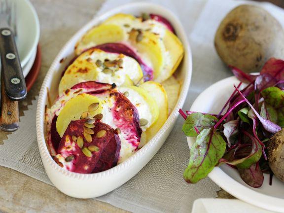 Rote-Bete-Kartoffel-Auflauf