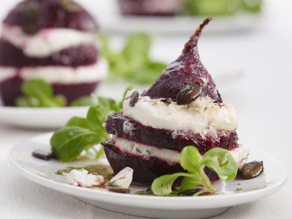 Rote-Bete mit Feta und Rapunzelsalat