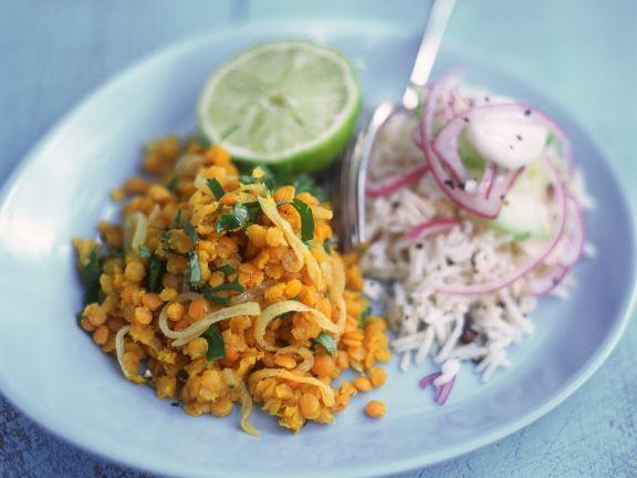 Rote Linsen in Currysauce mit Basmatireis