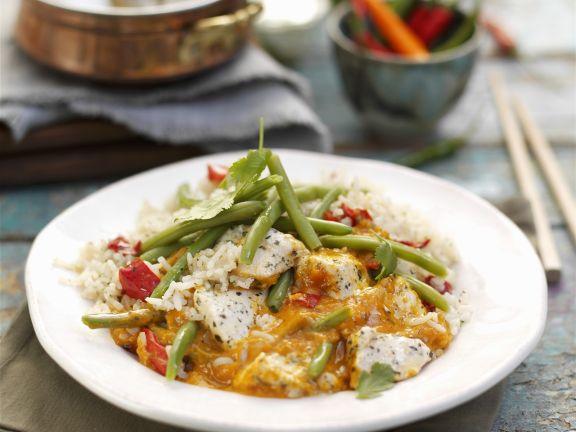 Rotes Thai-Curry mit Jasminreis