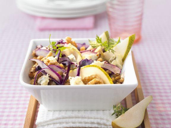 Rotkohl-Birnen-Salat mit Linsen
