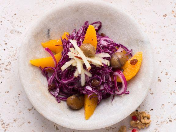 Rotkohlsalat mit Orangen und Maronen