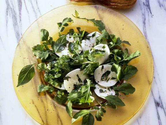 Rucola-Basilikumsalat mit Mozzarella