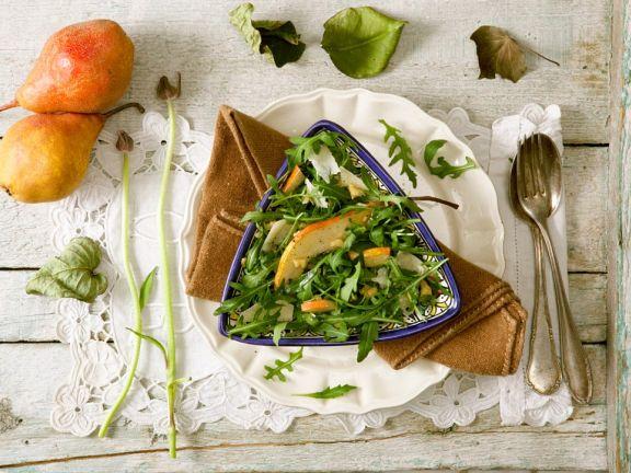Rucola-Birnensalat mit Parmesan