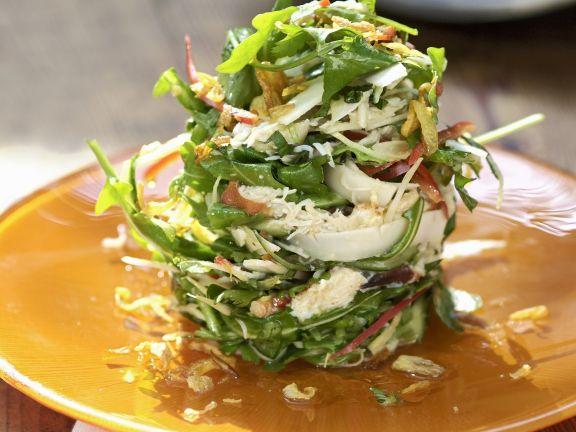 Rucola-Kokos-Salat mit Krabbenfleisch