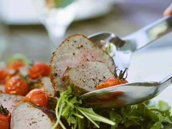 Rucolasalat mit Roastbeef