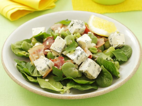 salat aus blattspinat mit gorgonzola saubohnen und knoblauch rezept eat smarter. Black Bedroom Furniture Sets. Home Design Ideas