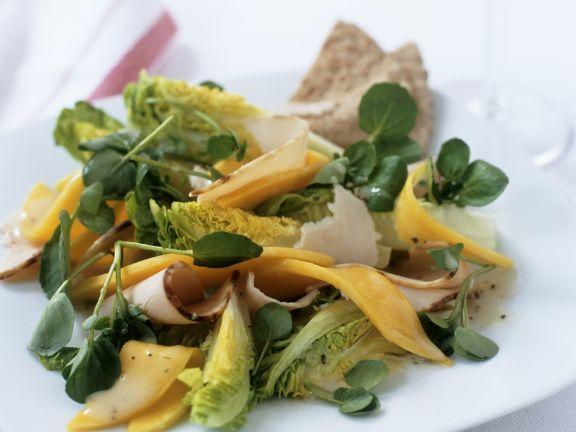 Salat aus Brunnenkresse, Mango und gekochter Putenbrust