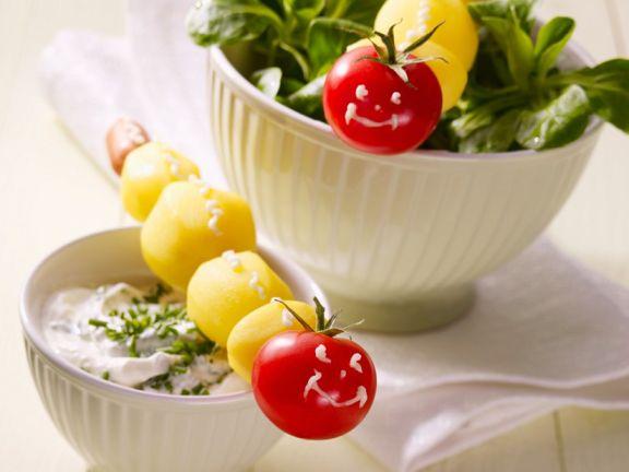 Salat mit Dip für Kinder
