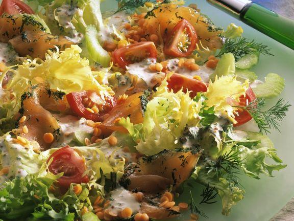 Salat mit Graved Lachs