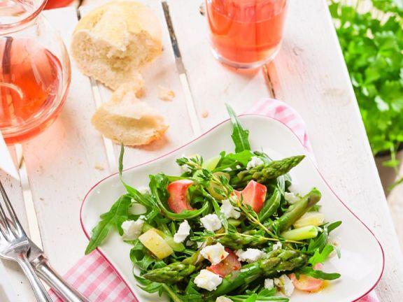 Salat mit Spargel und Rhabarber