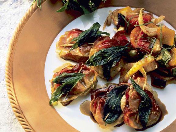 Saltimbocca mit mediterranem Gemüse