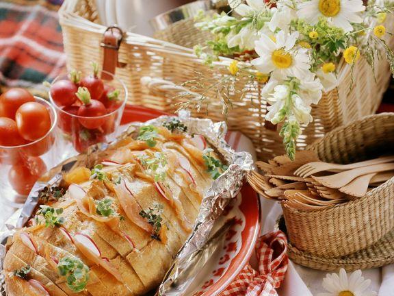 Sandwich-Brot mit Räucherlachs