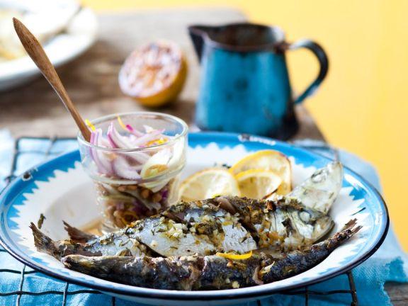 Sardinen vom Grill mit Linsen-Fenchel-Salat