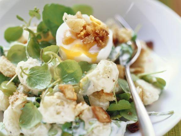 Saubohnen-Kartoffelsalat mit Wasserkresse