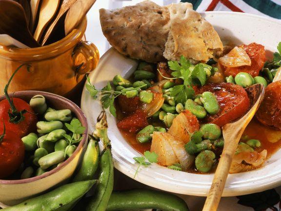Saubohnen-Tomaten-Gemüse
