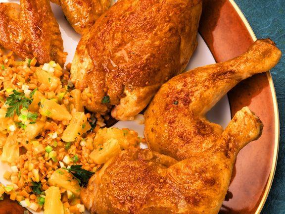 Scharfes Hähnchen mit fruchtigem Linsensalat