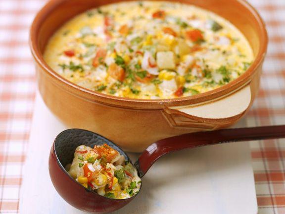 Schellfisch-Maissuppe