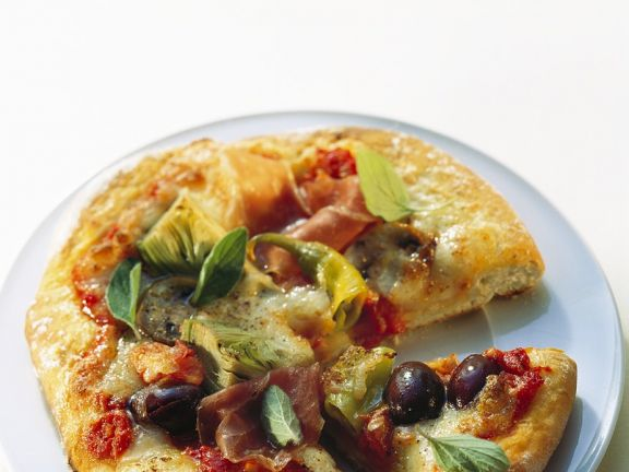 Schinken-Artischocken-Pizza