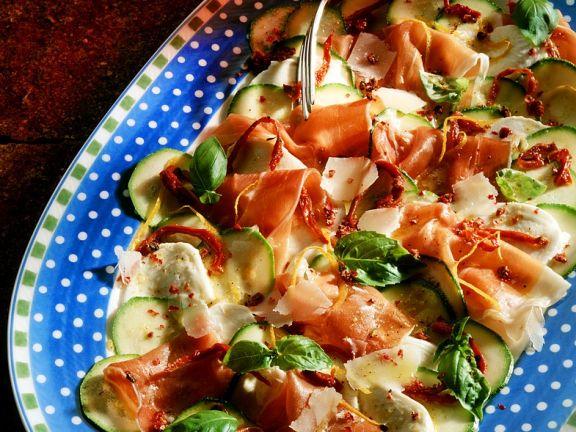 Schinken-Carpaccio mit Gemüse
