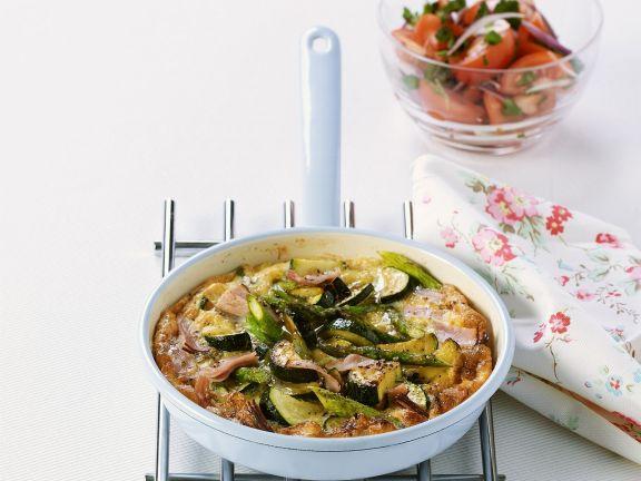 Schinkenomelett mit Gemüse