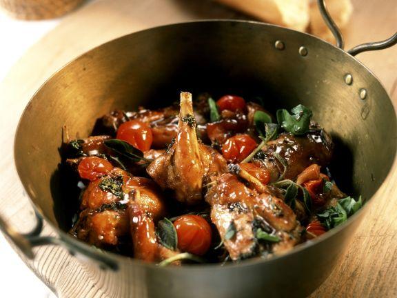 Schmor-Kaninchen mit Tomaten
