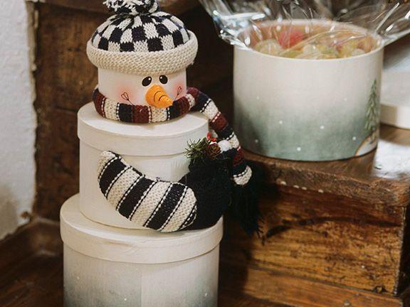 Schneemann aus Keksdosen basteln