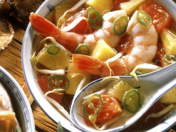 Schnelle Shrimpssuppe