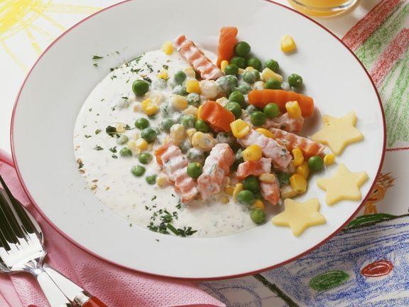 Schnelles Gemüse mit Sahnesauce