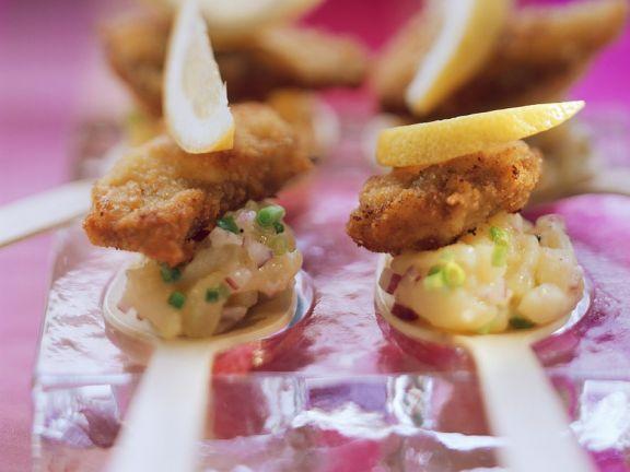 Schnitzel-Häppchen mit Kartoffelsalat