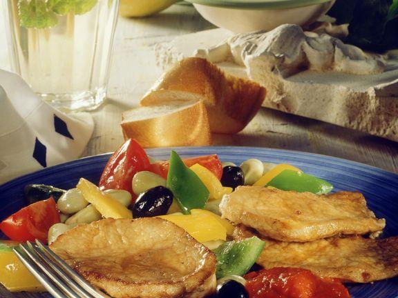 Schnitzel mit mediterranem Gemüse