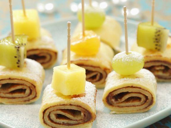 Schoko-Pfannkuchen mit Früchten