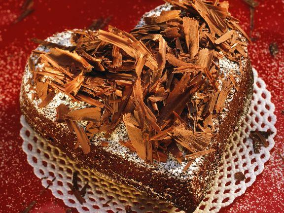 Schokoladenherz mit Whisky und Schokoraspeln