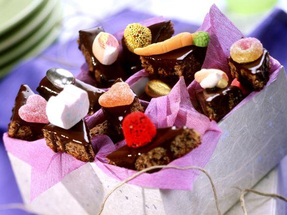 Schokoladenplätzchen mit Zuckerfiguren