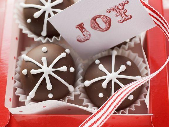 Schokoladenpralinen mit Karte zum Verschenken (weihnachtlich)