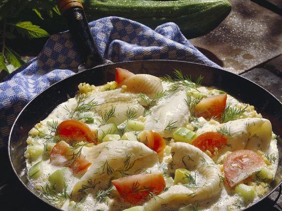 Scholle mit Schmorgurken und Reis