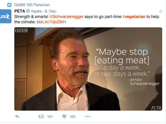 Twitter-Screenshot von PETA mit einem Zitat Arnold Schwarzeneggers