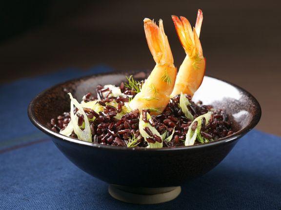 Schwarzer Reis mit Shrimps