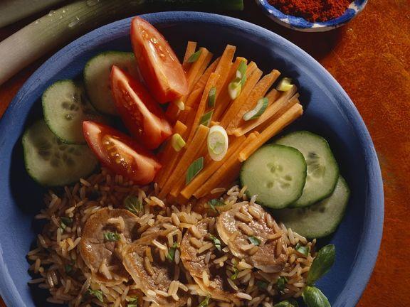 Schweinefilet mit Gemüsereis