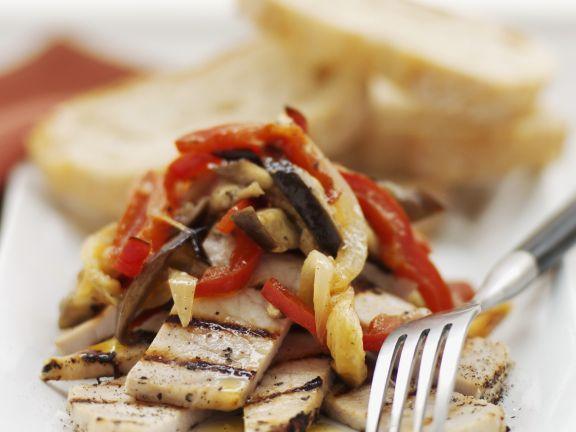 Schweinefilet mit Paprika-Auberginen-Gemüse