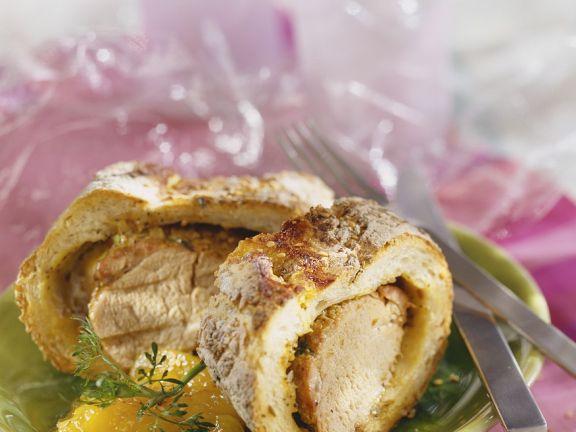 Schweinefleisch im Brotteig mit Chutney