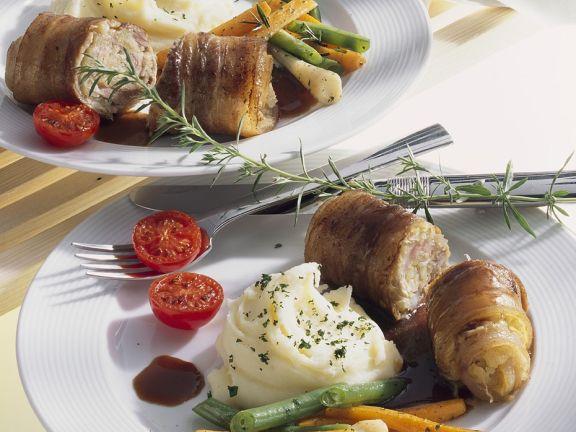 Schweinerouladen mit Gemüse