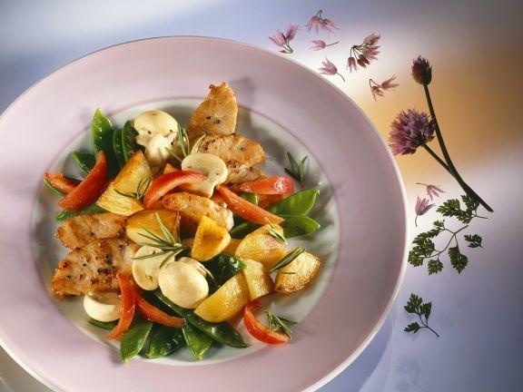 Schweineschnitzel mit Gemüse