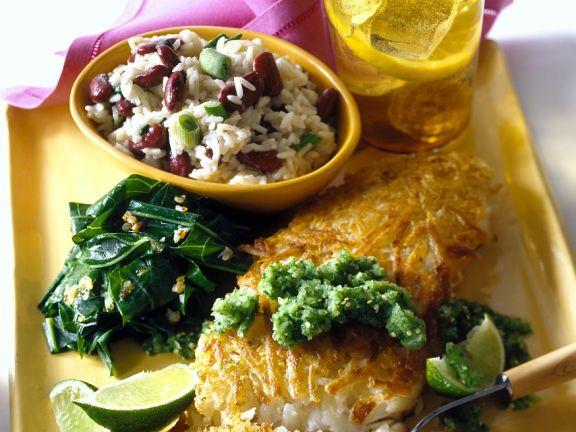Seebarsch mit Kartoffelkruste und Reissalat