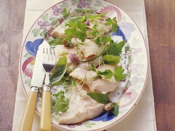 Seesaibling (Rötel) mit Kräuter-Weißwein-Soße
