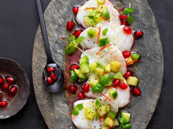 Seeteufel-Carpaccio mit Avocado